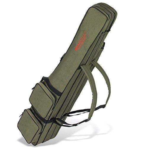 Allround Rutentasche Angeln Tasche mit 3 Innenfächern für Angelruten, Kescher und Rutenhalter - 190 cm - Oliv