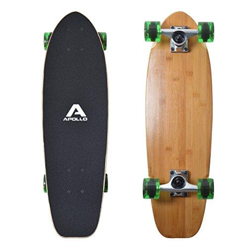 Apollo Mini-Longboard, toller Midi Cruiser als Komplett-Board, 70cm (30x8') , wendiges Kick Tail Mini Longboard aus Holz im Vintage Skateboard-Style mit High Speed ABEC 9 Kugellagern