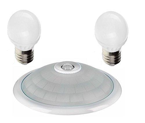 Deckenleuchte Weiß-Chrom mit Bewegungsmelder | 360° Sensor | mit 2 LED E27 9W Leuchtmittel | 18 W (Weiß Rahmen - Warmweiß)