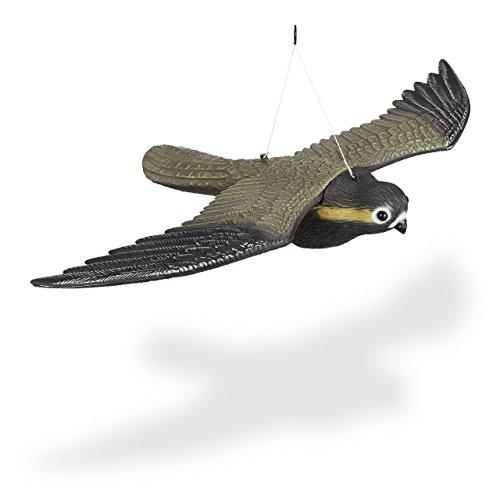 Relaxdays Vogelschreck Falke, fliegender Greifvogel als Vogelscheuche, Raubvogel Attrappe, Vogel lebensgroß, mehrfarbig