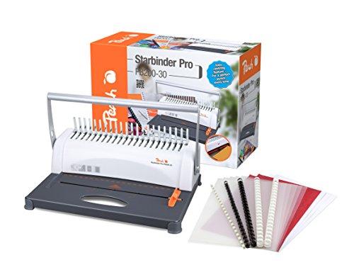 Peach PB200-30 Plastikbindegerät   Star Binder Pro - DIN-A4  bindet 350 Blatt  max. 38 mm Binderücken   12 Blatt Stanzkapazität   inkl. 15-teiligem Starterset