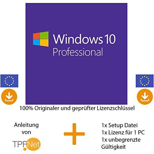 MS Windows 10 Pro Multilingual 32 bit & 64 bit Vollversion - Original Lizenzschlüssel per Post und E-Mail + Anleitung von TPFNet - Versand max. 60Min