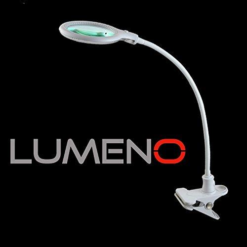Lumeno 6803 Lupenleuchte LED Klemmleuchte mit 32 SMD-LEDs, 4 Watt, 300 Lumen Ideal für z.B. Kosmetiksalons, Arztpraxen, Hobbybastler. Leuchtlupe / Lesehilfe / Vergrößerungslampe / Lupe 3 Dioptrien