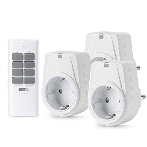 Lunvon 12-Kanal Funksteckdosen Set aus 3 x Funksteckdose mit 1 x Fernbedienung, Funkschalt Set Selbstlern-Funktion, 1000 Watt für Weihnachtsschmuck, Licht, Haushaltsgeräte, Reichweite 30m, Weiß