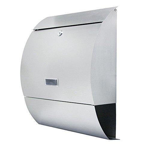 LZQ Elegantem Arc Design Edelstahl Briefkasten, Wandbriefkasten mit Zeitungsfach, A4 Einwurf-Format, mit Sichtfenstern, Namensschild, Abschließbar mit 2 Schlüssel (A Type)