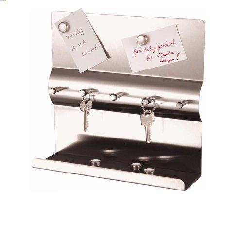 Edelstahl Schlüsselbrett mit Magnetwand + Magnete Schlüsselleiste mit Magnettafel Schlüssel-und Memoboar Schlüsselbrett 24 x 24 x 7 cm (Edelstahl)