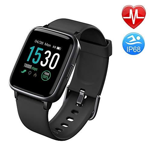 Duang Smartwatch, Bluetooth Fitnessuhr Damen Fitness Tracker Herren , 1,3-Zoll-Farbbildschirm Sportuhr mit Schrittzähler Pulsmesser Schwimmen wasserdicht IP68, iOS Smartwatch Android-Handy (black)