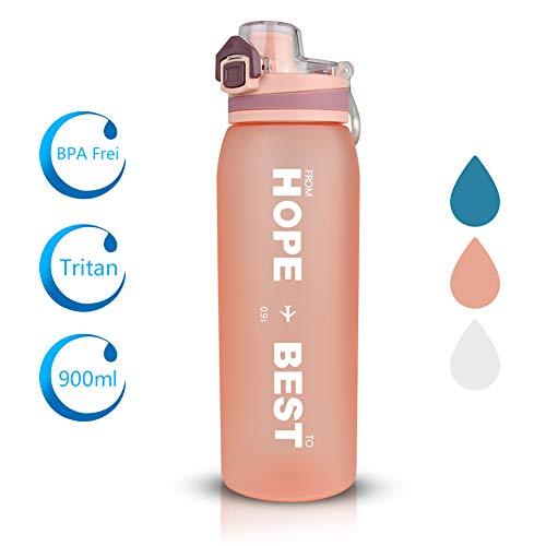 Opard Trinkflasche Sport 900ml -Wasserflasche aus Tritan BPA-Frei, Auslaufsicher Sportflasche für Kinder, Sport, Fitness, Fahrrad, Fußball, Outdoor (Orange)