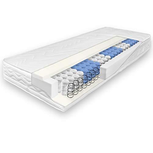 verapur Ortho Plus Taschenfederkernmatratze 90 x 200 cm, Härtegrad H3 (81-100 kg), 7 Zonen, Atmungsaktiv, ÖKO-TEX, Made in Germany