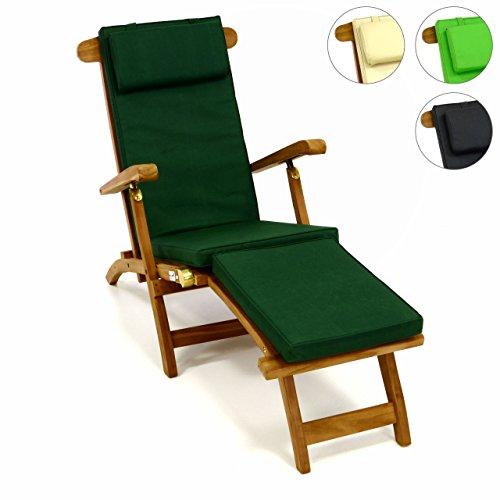 DIVERO Liegestuhl eleganter Deckchair 'Florentine' Steamer Chair Teakholz Liegenauflage mit Kopfteil mit 4 Segmenten wasserabweisend Bezug abnehmbar mit Reißverschluss (dunkelgrün)