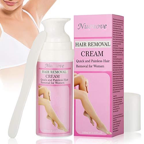 Enthaarungscreme Frauen Haarentfernungscreme, Hair Removal Cream, Enthaarungsmittel auf Bikini, Unterarm, Brust, Rücken, Beine und Arm für Frauen, 1 Pack+1 Kunststoffschaber (100ml)