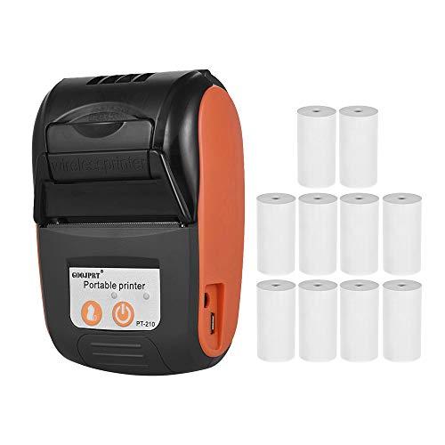 Aibecy GOOJPRT PT-210 Thermodrucker, tragbar, 58 mm, für Einzelhandelsgeschäften, Restaurants, Fabriken, Logistik, 10 Papierrollen Orange with 10 Paper Rolls