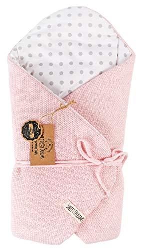 SweetDreams Baby Einschlagdecke, Schlafsack, Wickeldecke für Neugeborene und Kleinkinder, Baumwolle 0-12 Monate, super weich, 75 x 75 cm (1024) (Rosa/Dots)