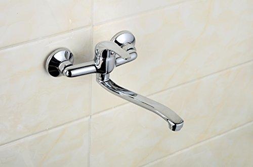 Wandarmatur für Küche Bad oder Keller mit Auslauf lang schwenkbar Chrom 4100-7