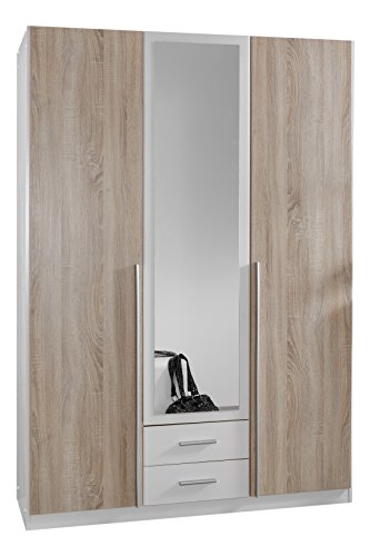 Wimex 119484 Kleiderschrank, 3-türig mit zwei Schubkästen und eianer Spiegeltür, Front Korpus Außentüren Eiche Sägerau Nachbildung, 135 x 198 x 58 cm
