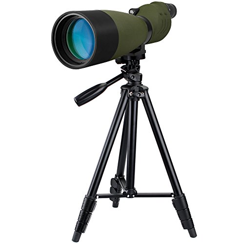 Svbony SV17 Spektiv 25-75x 70mm BAK4 Optik Gerades Spektiv Vogelbeobachtung FMC Wasserdicht mit Reise-Stativ und Softtasche für Zieljagd und Vogelbeobachtung (Armeegrün)
