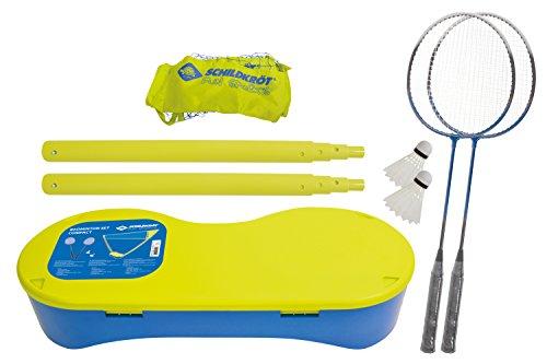 Schildkröt Funsports Federball Compact Netz Schläger Bälle 2 Spieler Badminton Set, Gelb/Blau, One size