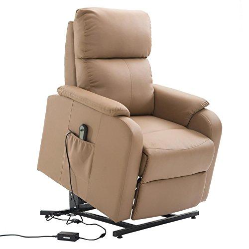 CARO-Möbel Relaxsessel Senior Fernsehsessel Ruhe TV Sessel mit Elektrischer Aufstehfunktion, Verstellbare Rückenlehne und Fußteil Braun cognacfarben