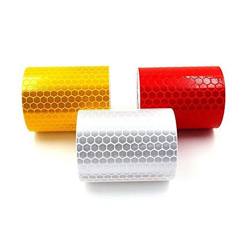 Sprießen 3 STÜCKE Reflektierende Klebeband, Reflektor Sicherheitswarnband, Sicherheitszeichen für Auto/Motorrad/Fahrrad/Nachtaktivität (5 cm x 3 m)