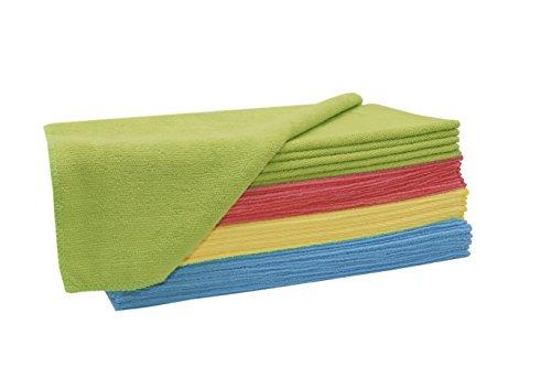 ZOLLNER 24er Set Putztücher / Reinigungstücher / Microfasertücher-Set, Größe ca. 32x32 cm gemischtfarbig (grün, rot, gelb und blau), Serie 'Polino'