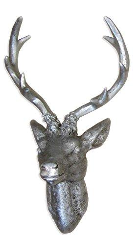 Hirschgeweih Hirschkopf Geweih 10-Ender in Silber, Metall-Optik 51 x 60 cm, Figur Skulptur Deko