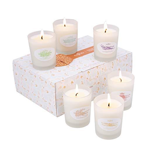 ANJOU Duftkerzen 6er Pack Geschenk Set, Aromatherapie Duft Set Soja Wachs, 15 Stunden Brenndauer Pro Kerze, 6 x 70 g zum Entspannen, Weihnachten Geschenk