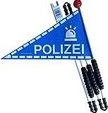 Karl Drais  Fahrradwimpel Polizei aus reißfester Heavy Duty LKW Plane | Fahrrad Wimpel | Jungen Sicherheitswimpel Polizisten (Fahrradfahne)