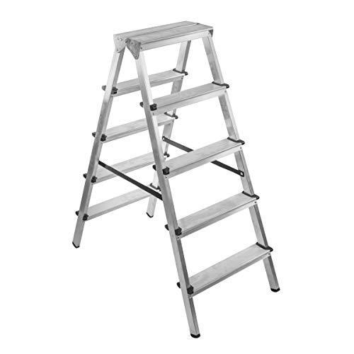 BRIKS Aluminium Leiter BR2050, Stehleiter Zweiseitig 2x5, belastbar bis 150 kg, Silber
