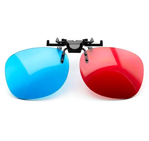 PRECORN 3D Brille rot blau Clip-On für Brillenträger Rot/Cyan (3D-Anaglyphenbrille) PC-Spiele UVM.