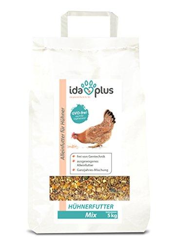 IdaPlus Hühnerfutter Mix 5 Kg - Ausgewogenes Alleinfutter | Ganzjahres Mischung, GVO-frei (auch für Legehennen) | Bestens für Futterautomaten geeignet | Enthält Calcium und Vitamine (5 Kg)
