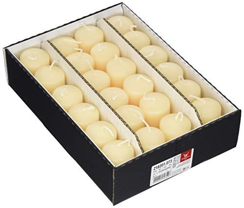 Wiedemann 218201.073 Stumpenkerzen mit Bodenetikett, Wachs, Grau 6 x 4 cm, 24-Einheiten