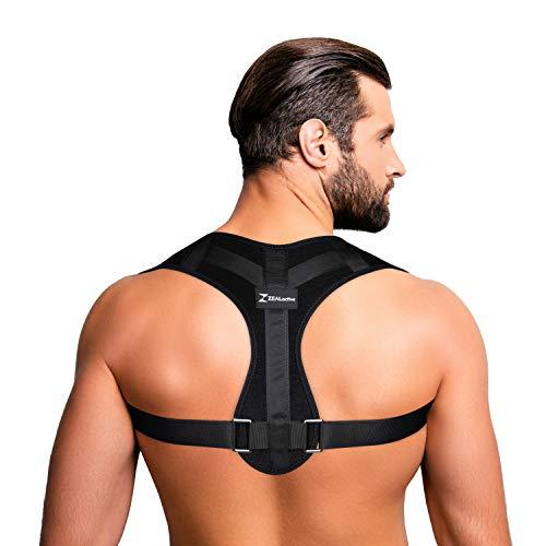 ZEALactive Haltungstrainer zur Haltungskorrektur - elastisch & atmungsaktiv - Geradehalter für eine gesunde & aufrechte Haltung bei haltungsbedingten Rücken & Nackenschmerzen | Schwarz Weiß Beige