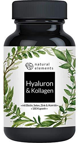 Hyaluronsäure Kollagen Komplex - Einführungspreis - 180 Kapseln - Angereichert mit Biotin, Selen, Zink, Vitamin C aus Acerola & Bambusextrakt - Hergestellt in Deutschland