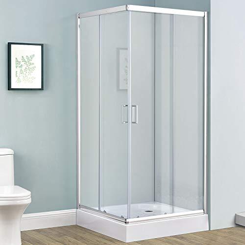 Duschkabine Braga 90 x 90 cm Alu-Echtglas mit Eckeinstieg & Schiebetüren