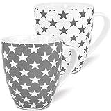 MC-Trend 2er Set XL Jumbo Grosse Becher Tassen in Weiß und grau mit Sternen aus Porzellan Füllmenge 600ml Höhe 12cm Büro Küche Schreibtisch