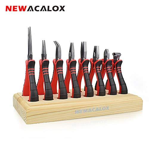 Zangen-Set für Schmuckherstellung, 8-teilige Zange mit Holzpalette, NEWACALOX 4,5'Mini Multitool Diagonale/Endschnitt/Seite/Lang/Gebogen/Flach/Rundzange-Zangensatz