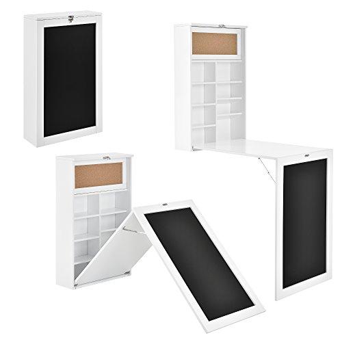 [en.casa] Moderner Wandklapptisch Schreibtisch in weiß MDF Zum Ausklappen