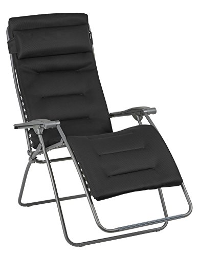Lafuma Großer Relax-Liegestuhl, Klappbar und verstellbar, RSX Clip XL, Air Comfort, Acier (Anthrazit), LFM2041-8718