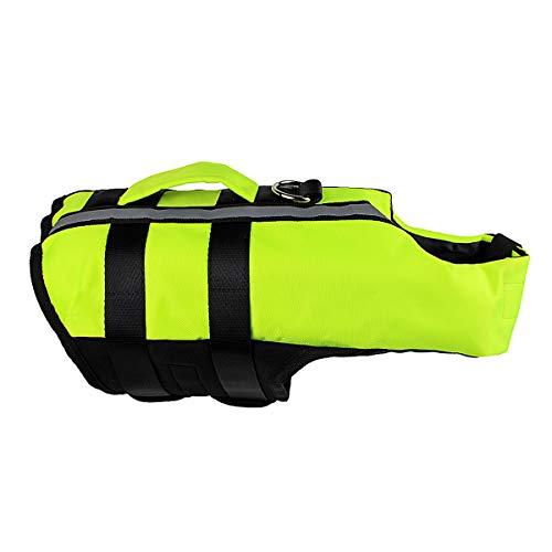 VOHONEY Pet Hundeschwimmweste Schwimmweste Badeanzug Hundelebensweste Aqua-Top Größenverstellbar Dog Vest Lifejacket(L, Grün)