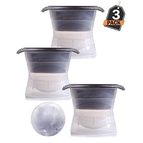 XXL Eiskugelform 3er Set, 6cm Durchmesser - für riesige Eiskugeln, runde Eiswurfelform / Eiswürfel