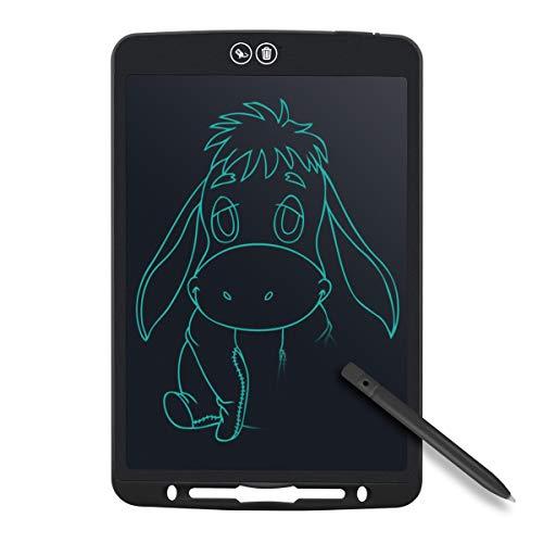 Tyhbelle Teilweise Löschbares Writing Tablet,12 Zoll Elektronisch LCD Schreibtafel mit Anti-Clearance Funktion und Stift papierlos für Schreiben Malen Notizen Super als Geschenke (Schwarz)
