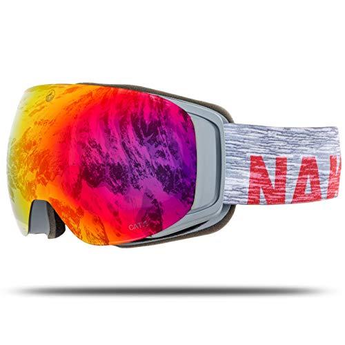 NAKED Optics Skibrille Snowboard Brille für Damen und Herren - Verspiegelt mit Magnet-Wechselsystem - Ski Goggles for Men and Women (Melange, inkl. Schlechtwetterglas)