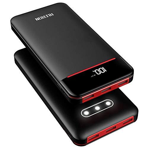 RLERON Externer Akku 25000mAh Powerbank, Hohe Kapazität Power Bank mit 3 USB-Output & 2-Input, Tragbares Ladegerät für Smartphones,Tablett