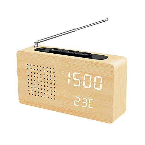 Digital Radiowecker,LAOPAO Reto FM Radio mit Temperatur Zeit Anzeige und Alarmfunktion für Küchen Schlafzimmer Büro Wohnzimmer