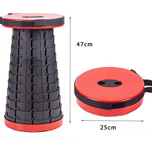 Zooma Campinghocker, Tragbarer Teleskop-Klapphocker, Tragbarer Outdoor Fauler Stool, für Camping, Outdoor, Nehmen Sie die U-Bahn, Angeln (Rot, Eine Größe)
