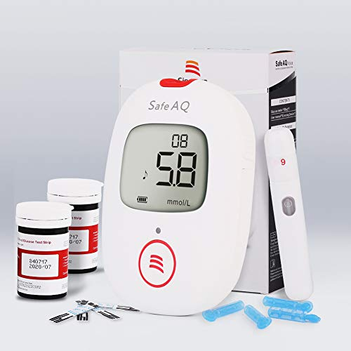 Blutzuckermessgerät, mit Blutzuckerteststreifen x 50 & Blutzuckertest Lanzetten x 50, Schmerzfrei, Wenig Probenvolumen (0.6μl), Lichtwarnung, Spracherinnerung für Diabetes Diabetiker - mg/dL