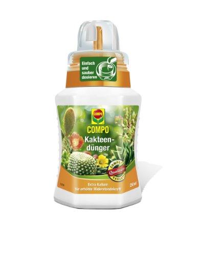 COMPO Kakteendünger für alle Kakteen und dickblättrigen Pflanzen (Sukkulenten), Spezial-Flüssigdünger mit extra Kalium, 250 ml