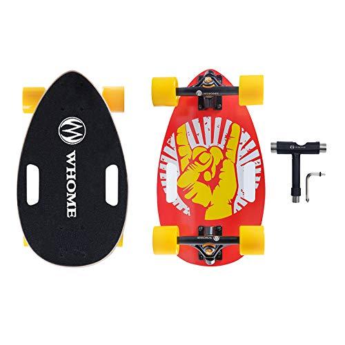 WHOME Littleboard Komplettset für Erwachsene und Anfänger - 43,2 cm Mini-Longboard Cruiser Skateboard, tragbar, 7-lagiges Ahorn-Deck T-Werkzeug im Lieferumfang enthalten, 3, 17''
