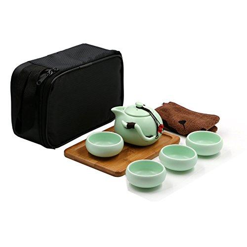 Tragbare Reise Kungfu Tee Set handgemachte chinesische / japanische Vintage, Porzellan-Teekanne und 4 Schüsseln & Bamboo Teetablett & Aufbewahrungstasche (Hellgrün)