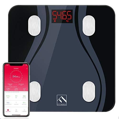 Körperfettwaage Smart Bluetooth Hochpräzise Körperwaagen mit Verbesserter APP, Digitale Personenwaage Testsieger FITINDEX Waage mit Körperfett Gewicht BMI Muskelmasse, Schwarz